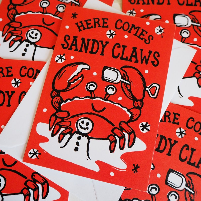Sandy Claws Funny Christmas cards pack of 5 multipack image 0