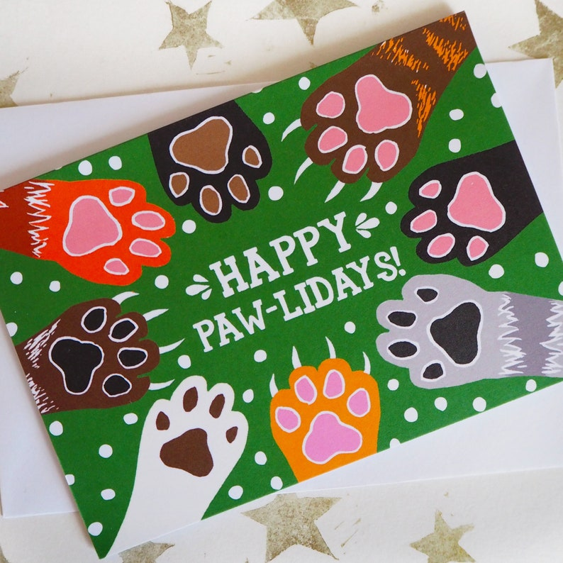 Funny Cat Christmas Card single or multipack Pawlidays Cat image 0