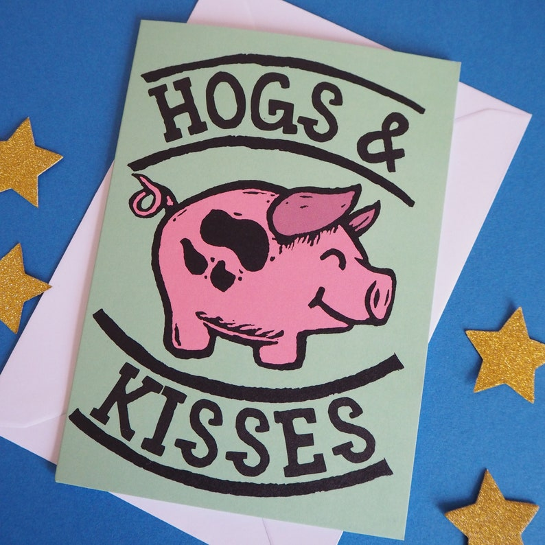 Funny Greeting card Hogs and Kisses card image 0