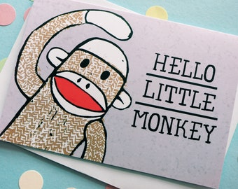 Cute New Baby Card, Sock Monkey Baby Card, Gender Neutral Baby Card, Baby Congratulations Card, Cute Expecting Card, Little Monkey Baby Card
