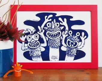 Finger Puppet Monsters Linocut Print, Lino Print Nostalgic Toys, 90s Retro Toys, Kids Room Print, Childrens Room Art, Childrens Decor