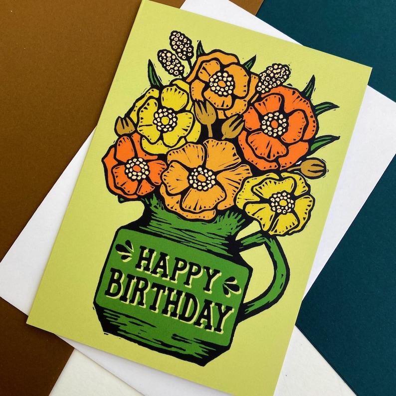 70s flowers Birthday Card Seventies Vintage style Birthday image 0