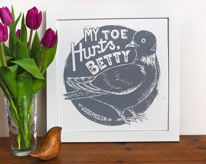 My Toe Hurts Betty Pigeon Bird Linocut Print image 0