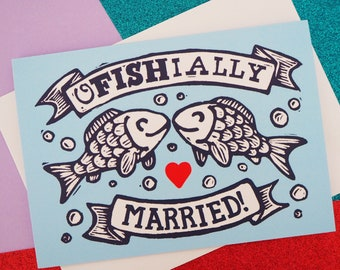 Officially Married Pun Wedding Card, A6 Size, Funny Fish Congratulations Card