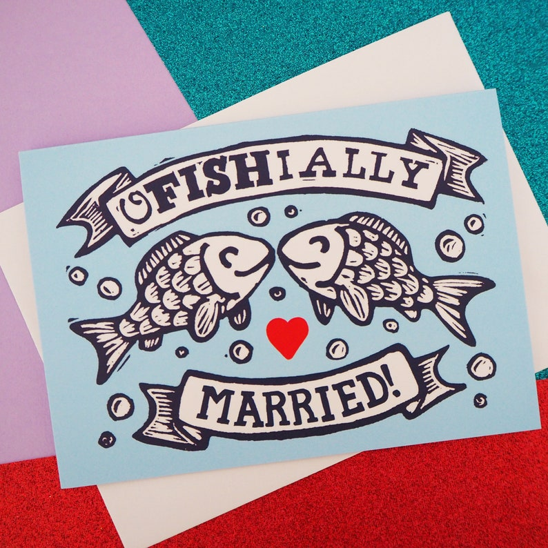 Officially Married Pun Wedding Card A6 Size Funny Fish image 0