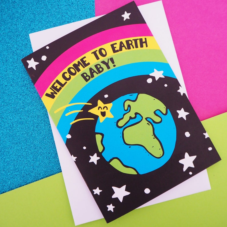 Welcome to Earth Baby Rainbow New Baby Card Gender Neutral image 0