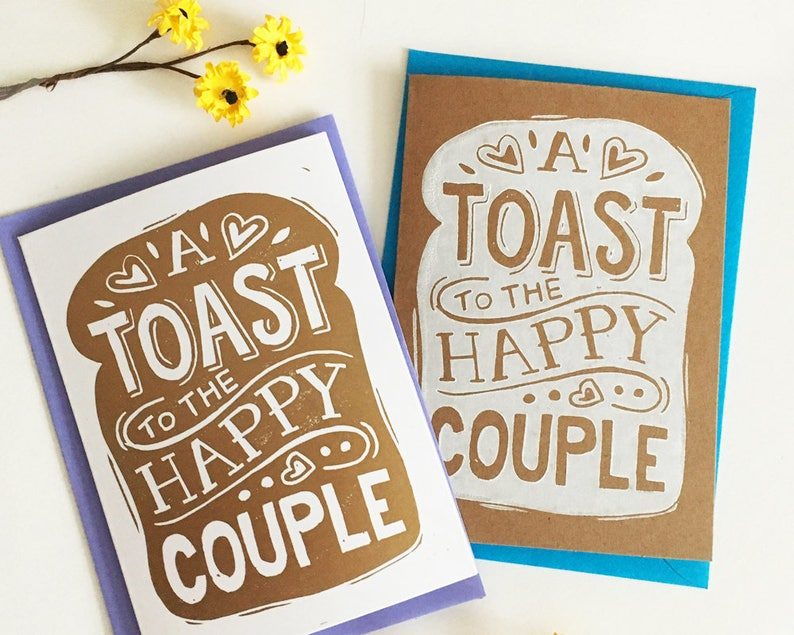 Funny Toast Wedding Card  Linocut Hand Printed Card image 0