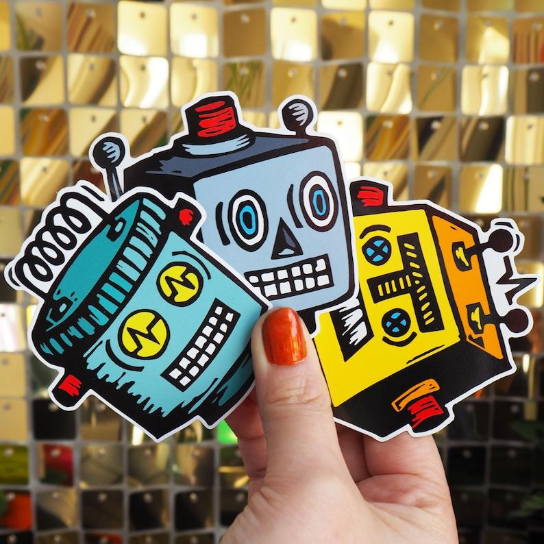 Vinyl Sticker Set  3x Retro Robot Friends Laptop Decals image 0