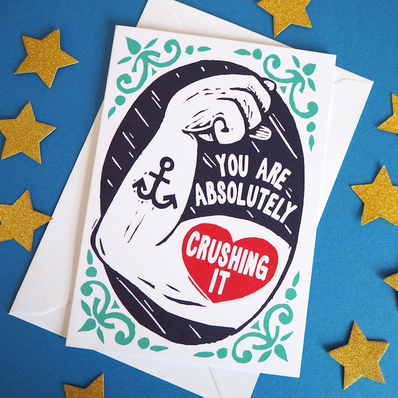 Retro Tattoo Encouragement Card You Can Do it Card well done image 0