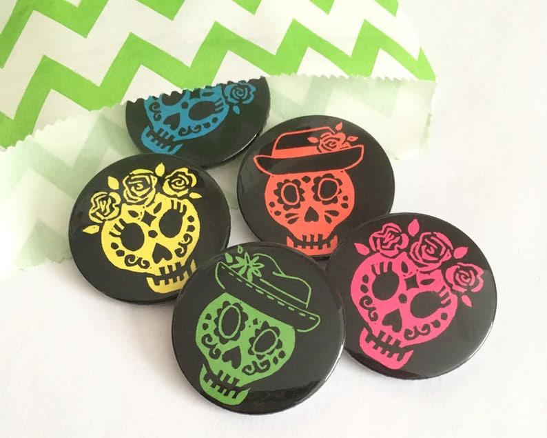 Day of the Dead Badges Sugar Skull Button badges Dia De Los image 0