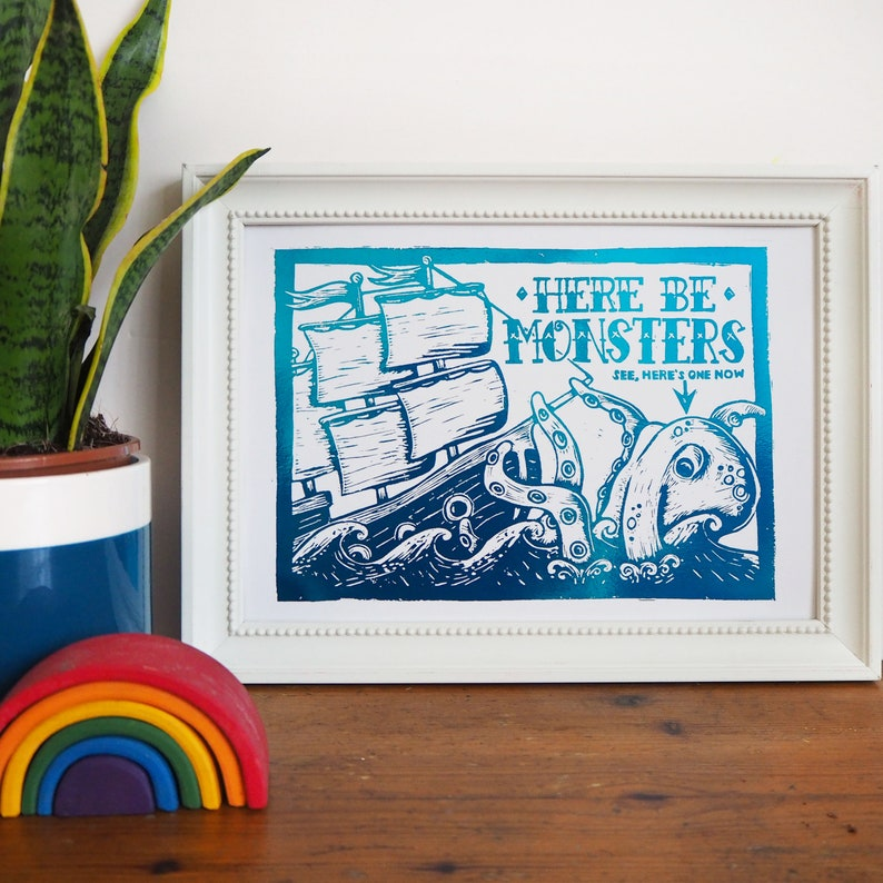 Foil Sea Monster Print Pirate ship Print Nautical Print image 0