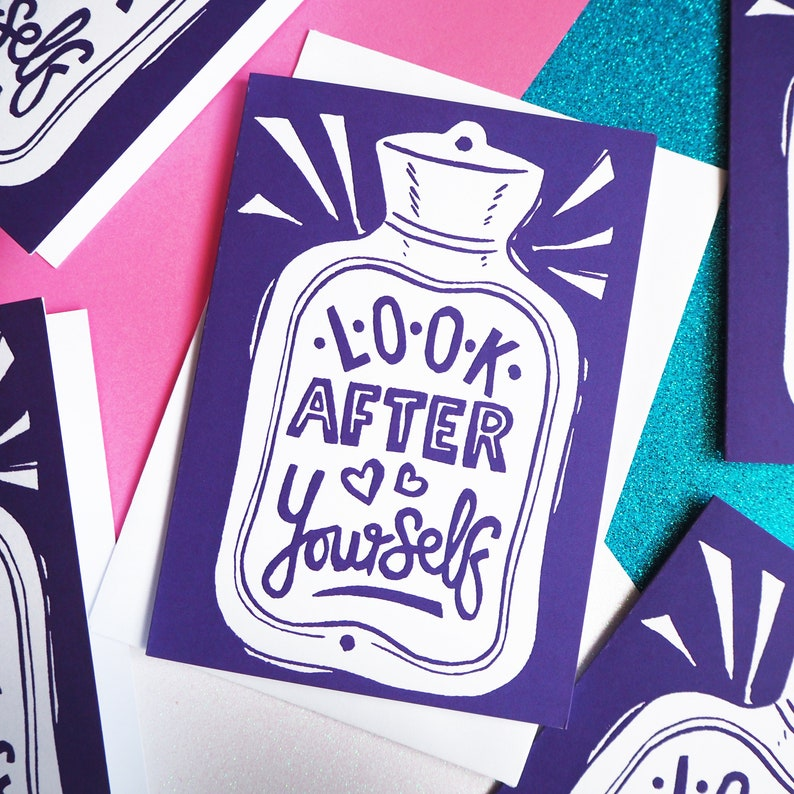 Look after yourself card Hot water bottle get well soon card image 0