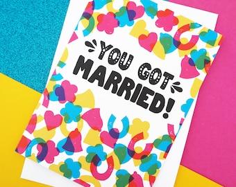 Rainbow Confetti Wedding or Engagement Card, A6 colourful wedding card