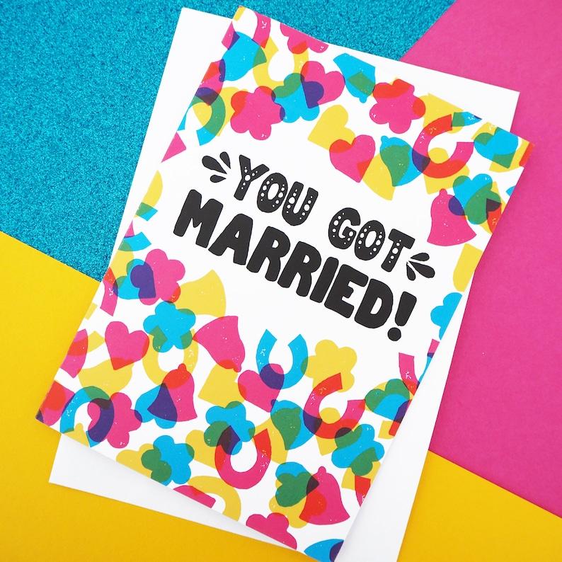 Rainbow Confetti Wedding or Engagement Card A6 colourful image 0