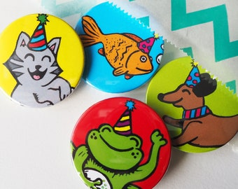 Party Animal badges, Pets, Cat lover gift, Dog lover Gift, party bag fillers, party favours, Stocking fillers, Animal themed present,