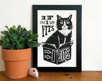 Black Cat Linocut Print - If I Fits, I Sits, Lino Print, Silly Cat, Meme, Funny Print, Funny Cat in a box, Funny Wall Art