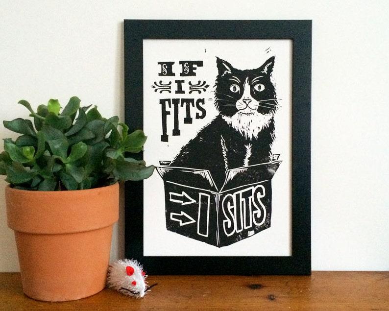Black Cat Linocut Print  If I Fits I Sits Lino Print Silly image 0