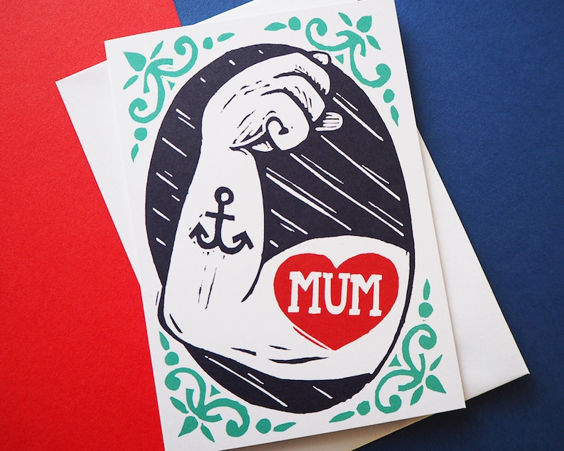 Tattoo Mother's Day Card Retro Nautical Card Strong Mama image 0