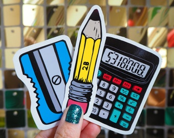 Vinyl Sticker Set - 3x Stationery, Sharpener Pencil and Boobies Calculator, Laptop Decals, Phone stickers,