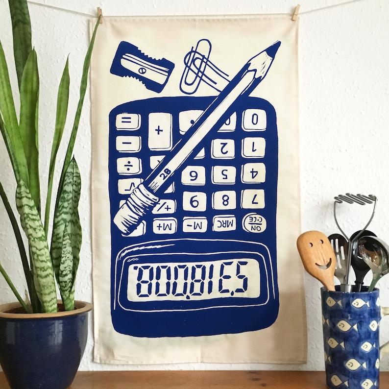 Boobies Calculator Tea Towel Dish Towel Napkin 100% Cotton image 0