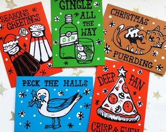 Funny Christmas Cards (GIN & PIZZA PACK) Christmas Pun Cards, Linocut Christmas Cards, Pack of Cards, Non-traditional, Quirky, Unusual