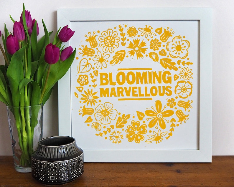 Blooming Marvellous Flower Linocut Print Yellow