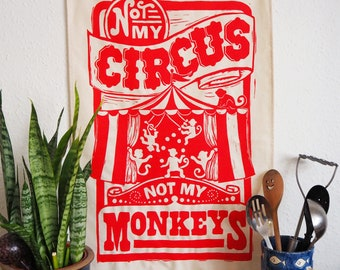 Circus Monkey Funny Tea Towel - From Linocut, 100% Cotton Kitchen Towel, Dish towel, Kitchenalia
