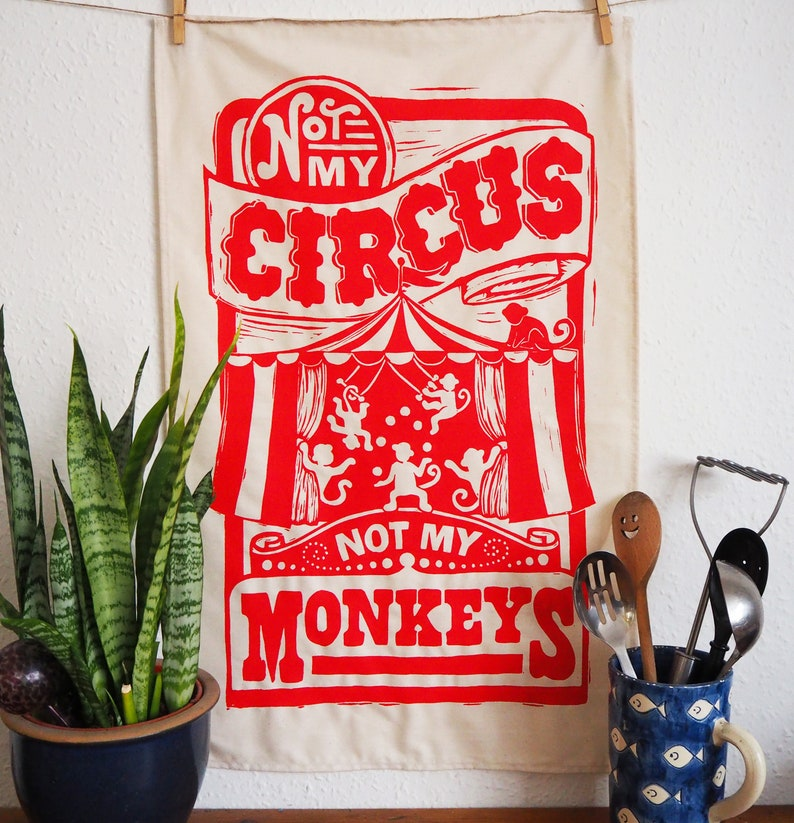 Circus Monkey Funny Tea Towel  From Linocut 100% Cotton image 0