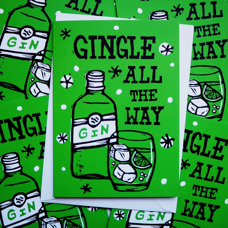 Gin Linocut Christmas cards pack of 5  Christmas Card image 0
