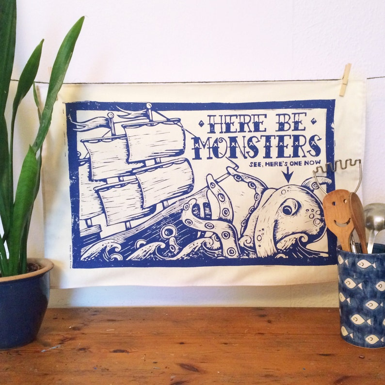 Sea Monster Tea Towel  From Linocut 100% Cotton Kitchen image 0