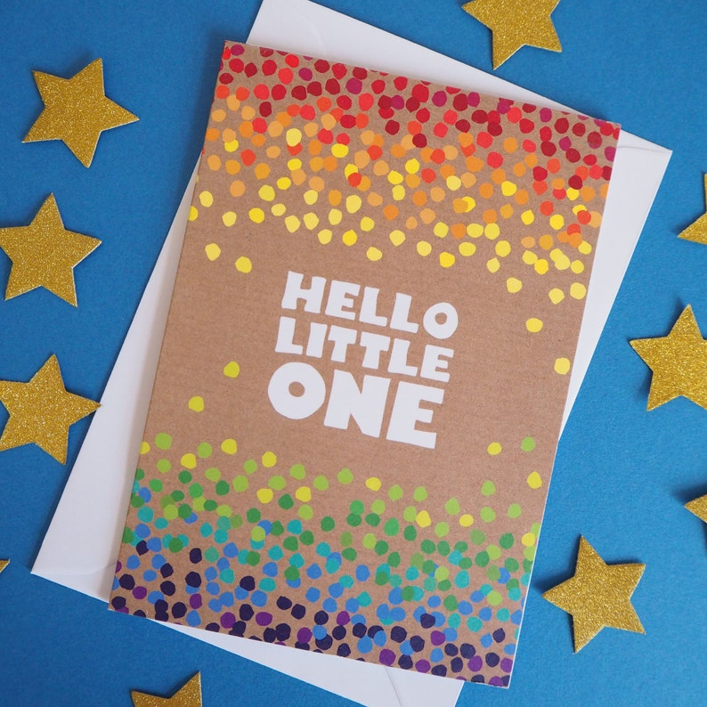 Cute Rainbow New Baby Card Gender Neutral Baby Card Baby image 0