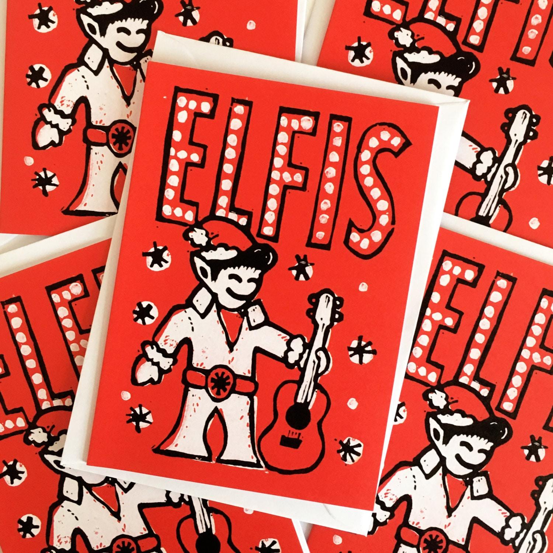 Elfis Christmas cards pack of 5 From Linocut Elvis Christmas   Etsy