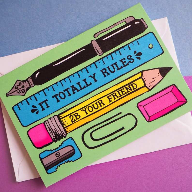 Pens and Pencil Friendship Card Stationery Pun card Just image 0