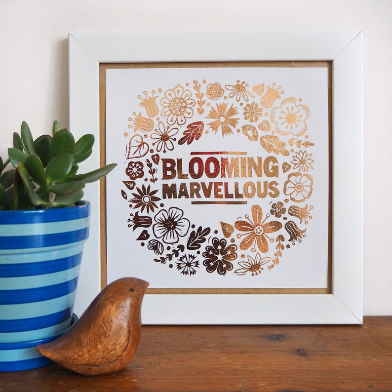 Blooming Marvellous Flower Copper Foil Print Copper