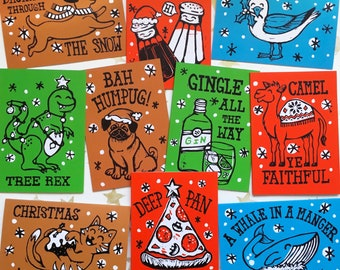 Funny Christmas Cards Mixed Pack of 10 (From Linocut), Christmas Pun Cards, Linocut Christmas Cards, Pack of Cards, Non-traditional