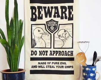 Evil Seaside Seagull Tea Towel - From Linocut, 100% Cotton Kitchen Towel, Bird Lover Gift, Tea Towel, Funny Dish Towel, Mum Gift, Brighton
