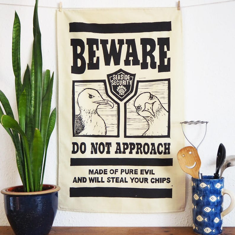 Evil Seaside Seagull Tea Towel  From Linocut 100% Cotton image 0