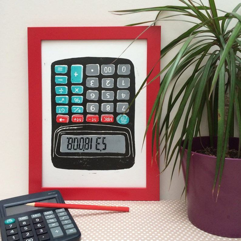Cheeky Calculator Linocut Print  Maths Print Geeky Gift image 0