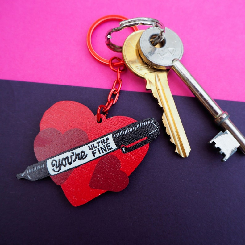 You're Ultra Fine Pen Wooden Keyring anniversary gift Painted Red