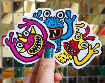Vinyl Sticker Set - 3 x Retro finger puppet monsters, Laptop Decals, Phone stickers,