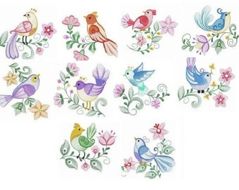Embroidered  quilt blocks--Bright Beautiful Birds