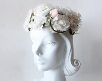 1960s Hat / Vintage Pink & White Flower Crown Hat