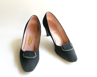 1950s Shoes / Vintage Saks Fifth Avenue Rhinestone Black Pumps- size 7