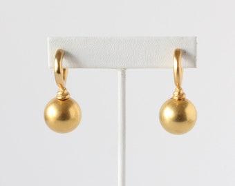 Vintage minimaliste doré Ball Drop boucles d'oreilles