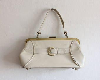 sac à main des années 1960 Vintage Calderon poignée supérieure Beige Doctor Bag