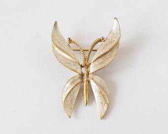 BSK Vintage argent lavé broche papillon doré