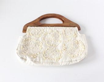 Vintage des années 1990 coquillage blanc manche en bois perlé sac