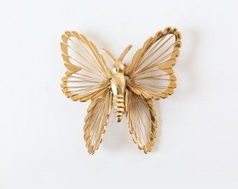 Vintage broche papillon doré Monet