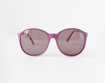 Vintage 1980 Oversize rond violet Lunettes de soleil