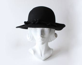 Vintage Bollman Hat Company Knotted Rope Black Wool Felt Hat